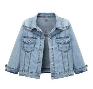 새로운 2020 여름 슬림 짧은 재킷 높은 허리 얇은 데님 재킷 3/4 슬리브 여성