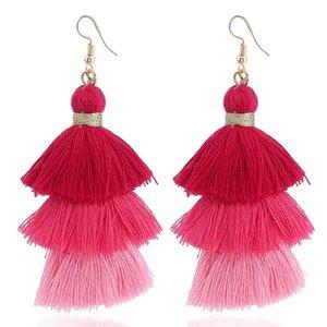 2022NEW ARRIVÉE BOHEMIA VINTAGE DANGES COULEURES FEMMES Boucles d'oreilles Triple Solide Tassels Design Fashion Longues Bagues d'oreilles