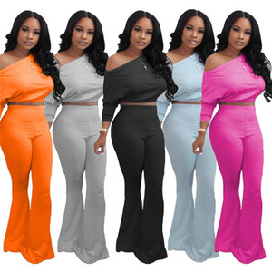 Women S-2XL 2 piece sets fall casual clothing hoodies bell bottom pants ssweatsuit plain long sleeve pullover+leggings tracksuit capris 3927