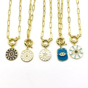 5PCS lot Brass Enamel Pendants Link Chain Clasps Necklaces Womens Jewelry