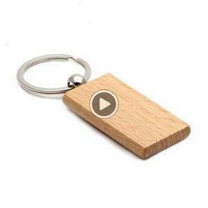 200X Key Chain di legno rettangolare 2.2 '' * 1.19 '' nome vuoto keychains chiave libero incisione anello KW01C