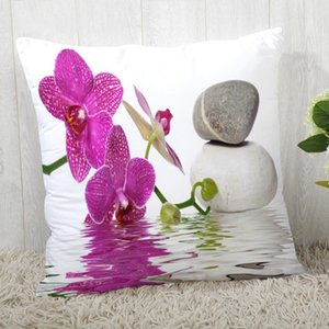 Custom Pillow Cases Stone and Flower Square Pillowcase Christmas Zippered Pillow Cover 40*40cm,45*45cm(One Side)