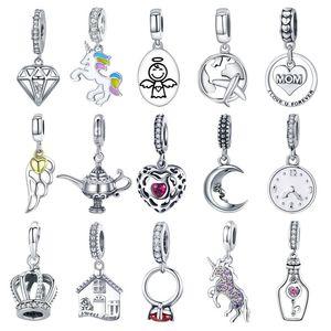 Diğer Otantik 925 Ayar Gümüş Köpüklü Zirkon Kalp Dangle Boncuk Fit Orijinal Pan Charm Bilezik Kolye Takı Hediye