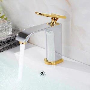 Vidric al por mayor 100% de latón de estilo moderno de diseño / Chrome / Negro Individual Oro agujero sola manija baño Embarcaciones Cuenca del grifo + Tubo