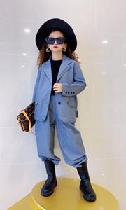 Classico stile Ragazze A serie di abiti 2020 New Fall bambini casuale allentata Blazers Soprabiti + Pantaloni 2 pezzi capretti che coprono A4232