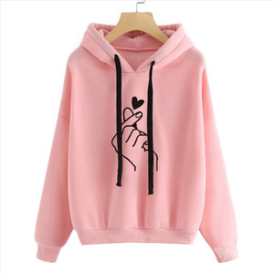 Harajuku Womens Sudaderas y sudaderas con capucha de gran tamaño KPOP Negro Pink Love Dedo Casual Streetwear Girls Hood Chándal de manga larga