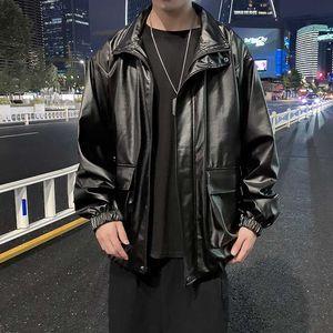 Oversized Faux Leather Jackets Mens Casual Loose Windbreaker Coats mens 2020 Autumn Hip Hop Men's Jackets