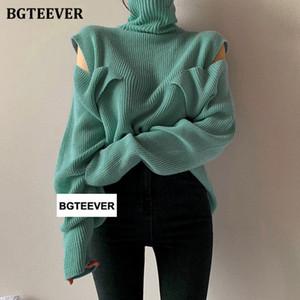 BGTEEVER Şık Soğuk omuz Düğmeleri balıkçı yaka Kadın Triko Streetwear Gevşek Kadın Süveter Kazaklar 2020 Sonbahar Kış Örgü T200910