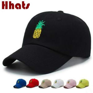 Hop Cap Sports Bordado Abacaxi Dad Hat Cap For Women ajustável boné de beisebol dos homens Fruit algodão Hip Verão Snapback K Pop