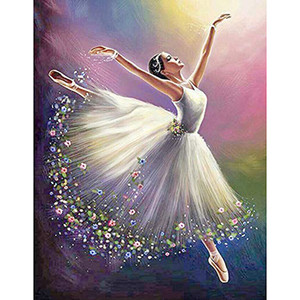 Full Drill Round Diamond Embroidery 5D DIY Diamond Painting Colorful Dancer Dress Girl Pattern Cross Stitch Wall Stickers C0926