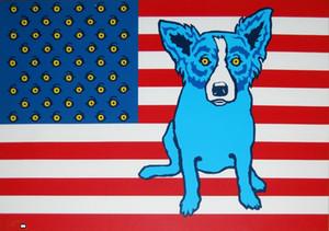 George Rodrigue Blue Dog Bianco Rosso e Blues decorazione domestica dipinta a mano HD Stampa della pittura a olio su tela di canapa di arte della parete della tela di canapa Immagini 200914