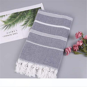 Striped Cotton Turkish Sports Bath Towel Travel Gym Camping Bath Sauna Beach Towel with Tassels Absorbent Easy Care Towels