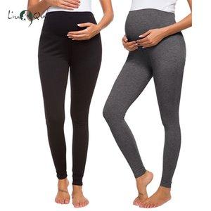 2 Pack speichert schwangere Mutterschaft Hosen Damen Leggings super bequeme Stretch-beiläufigen Sport-Yoga-Hosen Baumwollgamaschen Schwangerschaft