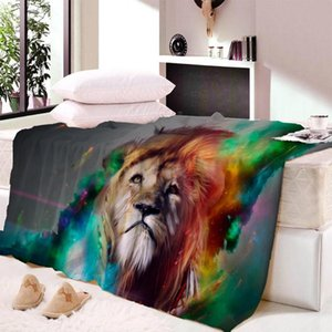 Lion Tiger Head Wool Plush Blanket Super Comfortable Fabric Thin Blanket Spring and Autumn Shawl Beach Towel Bed Fluffy