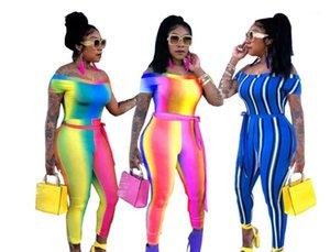 Jumpsuits Women Colors Patchwork Suits Summer One Piece Playsuits Jogger Suits