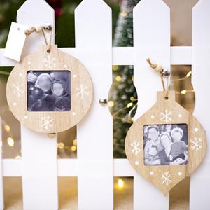 공 모양 나무 사진 프레임 DIY 크리스마스 사진 프레임 펜던트 현대 간단한 스타일 파티 홈 장식이 개 스타일의 새로운