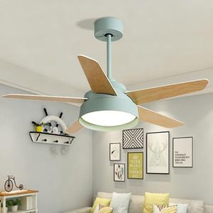 LED de madera lámpara ventilador de techo Macaron con ventiladores de control remoto de luz lámparas de iluminación de cobre motor 42 pulgadas 52 pulgadas