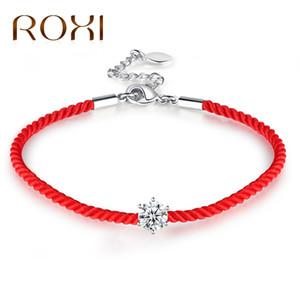 Roxi Avusturyalı Yuvarlak Kristal Charm Bilezikler Kadınlar Için Kırmızı Konu Hattı Halat Trendy Bilezik Bilezik Femme Boho Takı Pulseras