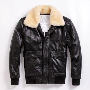 2020 Black Men USAF Pilot Leather Jacket Wool Collar Europe Plus Size XXXL Genuine Sheepskin Flight Coat