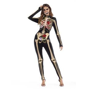 sales Halloween women tight skull bodysuit long sleeve polyeter skeleton party festival costume blood rose slim bodysuit