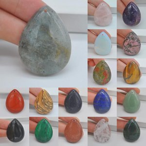 Natural 40x30MM Mixed Stone Bead Teardrop CAB Cabochon Hole Jewelry For Gift GEM Pendant 1PCS H149-H166