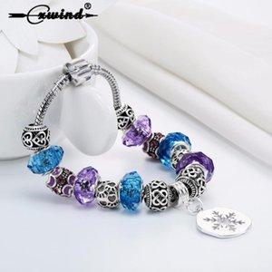 Cxwind Fashion Antique Dog Heart Bead Charm Snowflake Pendant Bracelets & Bangles For Women Enamel Beads Jewelry Gift