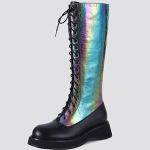 GIGIFOX Genuine Leather Bright Leather Patchwork Big Size 42 Top Quality Cow Skin Winter Riding Boots Female Shoes Women