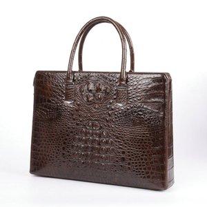 erkekler şifreli kilit tek evrak çantası lüks iş gezisi bilgisayar Hand için timsah derisi dizüstü erkek haberci çantası ofis