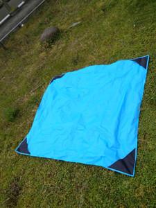 Wholesale-8pcs lot 210T Nylon New Outdoor Camping Nylon Pocket Picnic Mat Waterproof Folding Pendant Beach Mat 140cm * 152cm