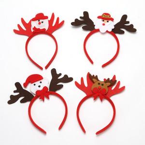 Clip de dibujos animados de Navidad luminoso de pelo del muñeco de nieve de Santa Claus Elk Antlers formar los anillos pasadores venda de la horquilla del pelo de iluminación Toca LY9163