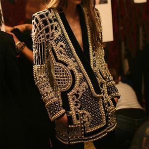 giacca donne cappotto in rilievo geometrico 2020 Autunno Inverno maniche lunghe con scollo a V Vintage signore Outwear Cappotti Retro Chic femminile Cappotti