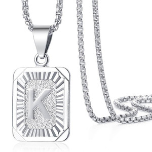 Initial Pendant Necklace For Women Silver Color A-Z Letter Charm Necklace Stainless Steel Box Link Chain Fashion Jewelry LGP117