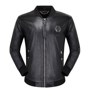Schwarz Biker Schädel-Leder-Jacken für Männer Mäntel Zipper Slim Fit Short Hip-Hop-beiläufige Motorrad-Mäntel Male Tops Fitness Kleidung M-3XL