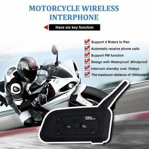 1 Moto Walkie-talkie V4 full-duplex in tempo reale chiamata Casco Walkie-talkie auricolare senza fili 1200M Moto Intercom Collegare fxGa #