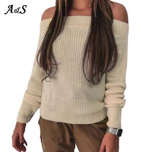 Anbenser atractivo del hombro suéter Tops Otoño Invierno de manga larga de punto jersey de punto jersey suelto sólido ocasional Jumper