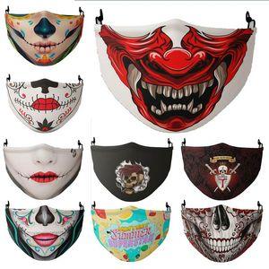 face masks skull face mask men women halloween 3D digital printing adjustable protective facemask dust-proof anti-haze mask cheap