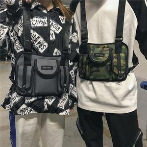 Women Fanny Nylon Harness Chest Rig Waist Pack Kanye West Punk Canvas Chest Bags Black Mens Hip Hop Streetwear Tactical Bag 503