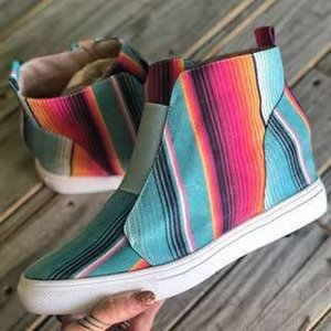 Women's shoes 2020 women's casual shoes side zipper high top inner height increase shoes color check women