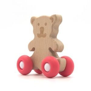 2020 La nouvelle conception de qualité alimentaire bois de hêtre silicone drôle de bébé ours en bois autisme sensorielle Teething Teether Jouets enfants Bundle gros