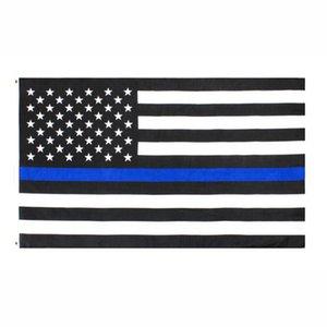 90 * 150cm Banderas BlueLine EE.UU. Policía 3x5 pies Thin Blue Line EE.UU. Bandera Negro blanco y azul de la bandera americana CYZ2768 transporte marítimo de