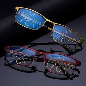 Full frame multi focus glasses progressive resin lens distance dual progressive bifocal women men reading glasses