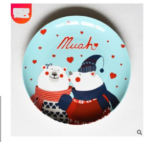 2020 hot sale Christmas ceramic plate Cartoon hand painted steak plate Fruit dish Bone China western dish Dinnerware 012