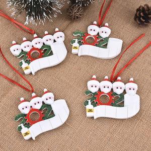 2020 Año Nuevo árbol de Navidad decoraciones de Santa Claus con la máscara de la chuchería del ornamento desinfectantes para manos cuarentena pandemia regalo del recuerdo de estilo mezclado