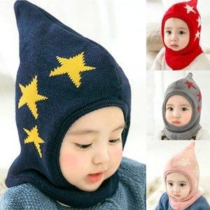 Baby Winter Hat Cartoon Star Boy Girl Cap Children Lovely Soft Hat for Children Kids Hooded Bib Baby Bonnet Enfant Knitted Hats