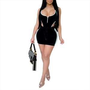 2020 Summer Women Velvet Bodysuit Skirt Two Piece Set Sexy Hollow Out Suit Night Club Night Party Streetwear Bodycon Outfits