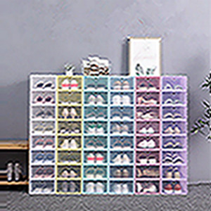 Thicken Clear Plastic Shoe Box Dustproof Shoe Storage Box Flip Transparent Shoe Boxes Candy Color Stackable Shoes Organizer Box EEA2004-1
