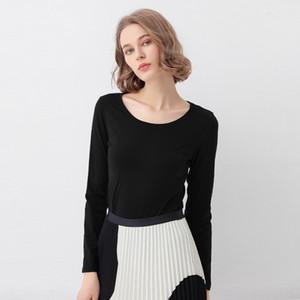 pCGk6 2020 yeni bahar Underpants- giyim pamuklu giysiler T ince düz renk uzun kollu tişört kadın taban gömlek