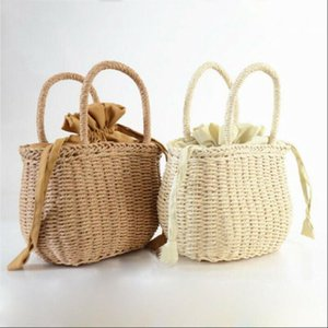 Mano donne NoEnName Null Estate Tessuto Rattan Bag paglia borsa di vimini Beach Wedding borsa Estate Cestello frizione sacchetti di acquisto