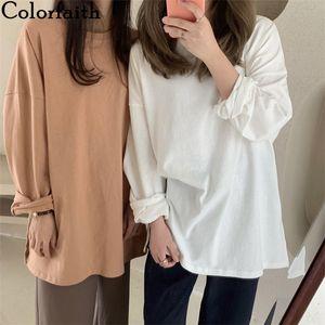 Camisetas Colorfaith New Mulheres Spring soltas Sólidos Casual Bottoming manga comprida coreana minimalista Estilo Triko cobre T T601 200925