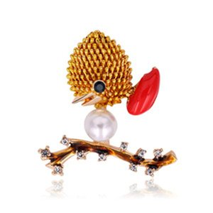 Fashion Rhinestone Bird Brooch Pins for Party New Enamel Pins and Brooches for Women Cute Pearl Brooches Badge for Clothes